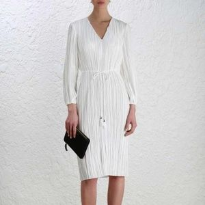 NWT ZIMMERMANN Karmic Plisse Pearl Tasseled Dress